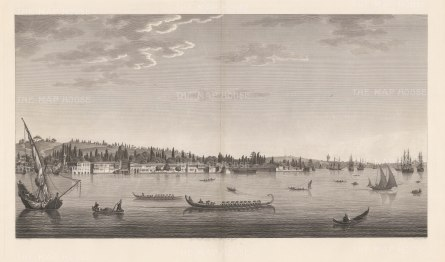 Aïnali-Kavak:View near the Arsenal in the interior of the port on the north-eastern coast. Artist and architect to the Ottoman court, Melling later became a favourite of the Empress Josephine of France.