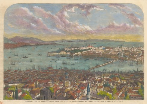 """Illustrated London News: Constantinople (Istanbul). 1853. A hand coloured original antique wood engraving. 21"""" x 14"""". [TKYp1296]"""