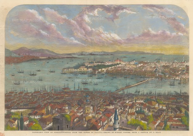 "Illustrated London News: Istanbul. 1853. A hand coloured original antique wood engraving. 21"" x 14"". [TKYp1296]"