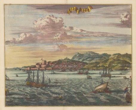 """Dapper: Sestos. 1702. A hand coloured original antique copper engraving. 16"""" x 13"""". [TKYp841]"""