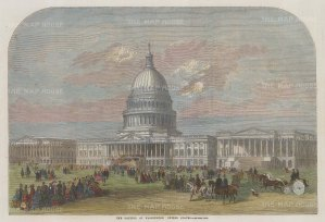 "Illustrated London News: Washington DC. 1859. A hand coloured original antique wood engraving. 13"" x 9"". [USAp4864]"