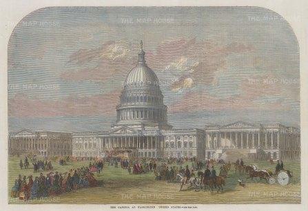 "Illustrated London News: Washington DC. 1859. A hand coloured original antique wood engraving. 13"" x 9"". [USAp4864]"