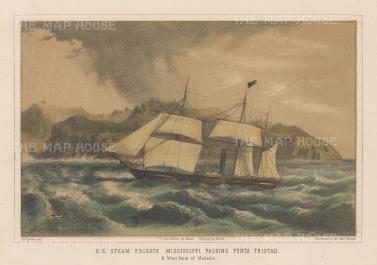 Madeira: US Steam Frigate Mississippi passing Punta Tristao.