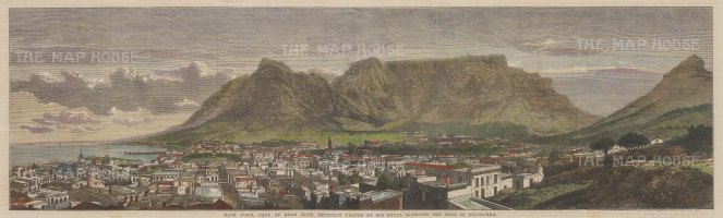 "Illustrated London News: Cape Town, Cape of Good Hope. 1867. A hand coloured original antique wood engraving. 21"" x 6"". [AFRp1213]"