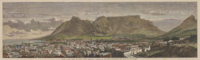 """Illustrated London News: Cape Town, Cape of Good Hope. 1867. A hand coloured original antique wood engraving. 21"""" x 6"""". [AFRp1213]"""