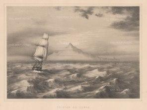 """Anderson: Tristan da Cunha, South Atlantic Ocean. 1859. An original antique lithograph. 11"""" x 8"""". [AFRp1225]"""