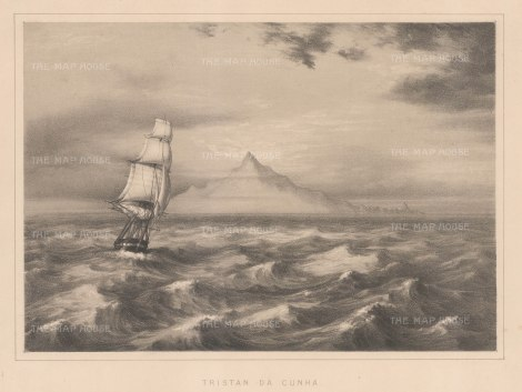 "Anderson: Tristan da Cunha, South Atlantic Ocean. 1859. An original antique lithograph. 11"" x 8"". [AFRp1225]"