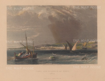 "Salmon: Annaba, Algeria. 1840. A hand coloured original antique steel engraving. 7"" x 5"". [AFRp1244]"