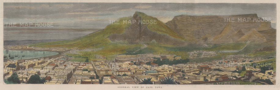 "Graphic Magazine: Cape Town, Cape of Good Hope. 1886. A hand coloured original antique wood engraving. 21"" x 6"". [AFRp1259]"