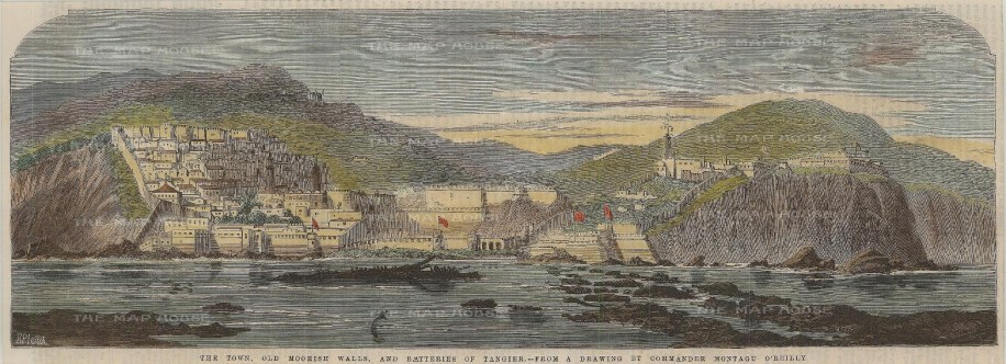 """Illustrated London News: Tangier, Morocco. 1859. A hand coloured original antique wood engraving. 14"""" x 5"""". [AFRp1267]"""