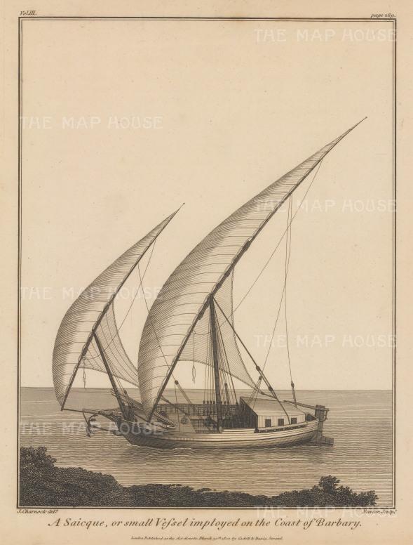 "Charnock: Caique. 1802. An original antique copper engraving. 9"" x 12"". [AFRp1277]"