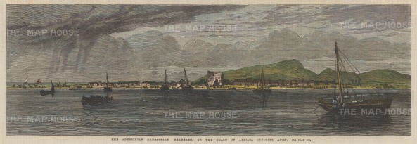 "Illustrated London News: Berbera, Somalia. 1868. A hand coloured original antique wood engraving. 14"" x 5"". [AFRp1292]"