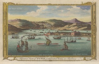 "Millar: Tunis, Tunisia. c1780. A hand coloured original antique copper engraving. 12"" x 8"". [AFRp1318]"