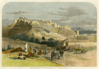 "Illustrated London News: Tangier, Morocco. 1860. A hand coloured original antique wood engraving. 14"" x 10"". [AFRp1327]"
