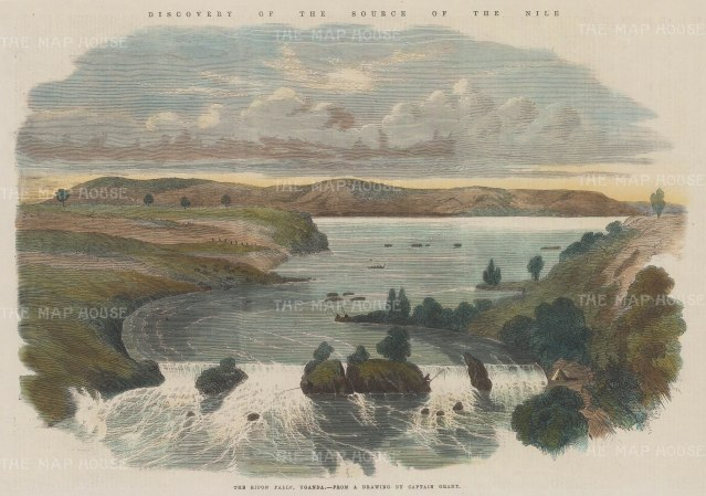 "Illustrated London News: Ripon Falls, Lake Victoria, Uganda. 1863. A hand coloured original antique wood engraving. 14"" x 10"". [AFRp1342]"