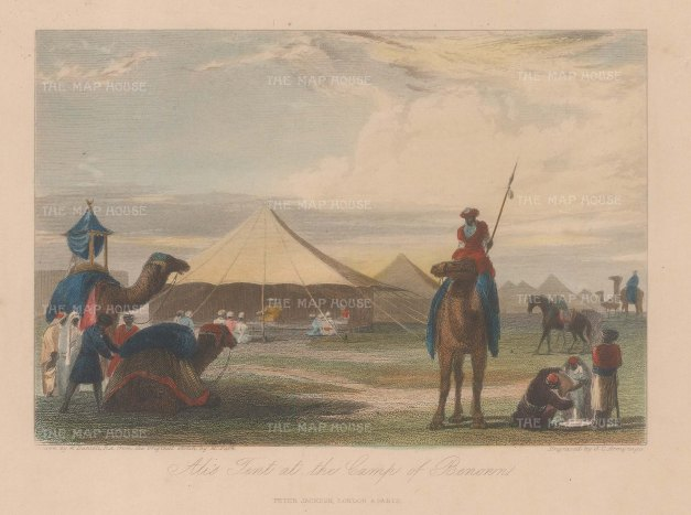 King Ali's camp after a sketch by the explorer Mungo Park.