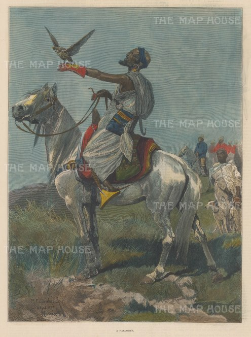 """Illustrated London News: Falconer, Morocco. 1887. A hand coloured original antique wood engraving. 9"""" x 13"""". [AFRp1356]"""