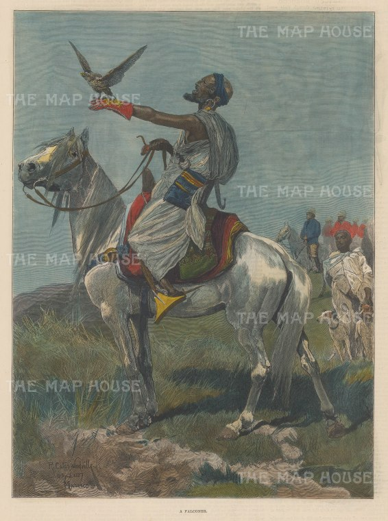 "Illustrated London News: Falconer, Morocco. 1887. A hand coloured original antique wood engraving. 9"" x 13"". [AFRp1356]"