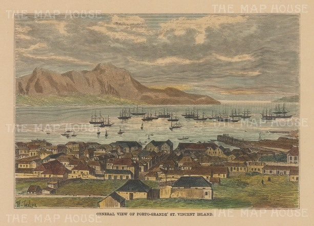 "Reclus: St Vincent, Cape Verde Islands. 1894. A hand coloured original antique wood engraving. 6"" x 4"". [AFRp1397]"