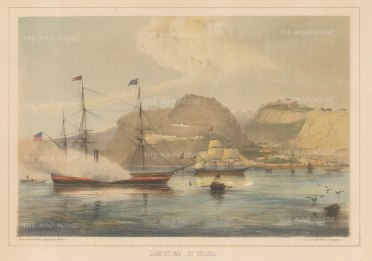 Jamestown, St Helena: Panoramic view of the harbour with Commodore Perry's steam frigate USS Mississippi in foreground.