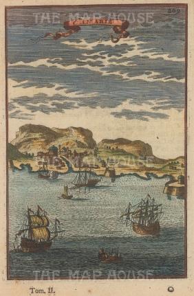 "Mallet: Canary Islands. 1719. A hand coloured original antique copper engraving. 6"" x 5"". [AFRp807]"