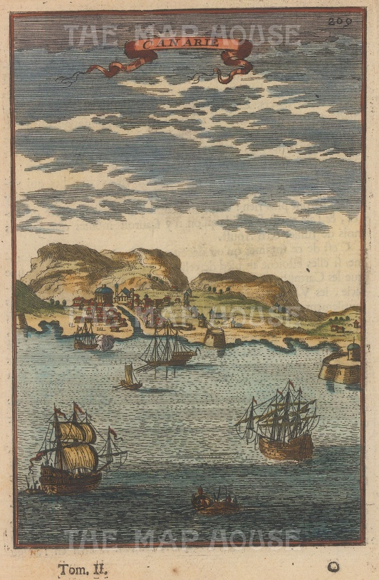 "Mallet: Canary Islands. 1719. A hand coloured original antique copper engraving. 6"" x 5"". [AFRp807]"