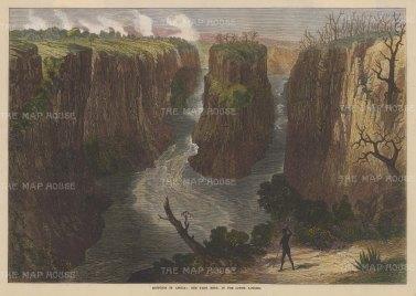 "Illustrated London News: Zambezi (Mosyoatunya) River. 1872. A hand coloured original antique wood engraving. 14"" x 10"". [AFRp919]"