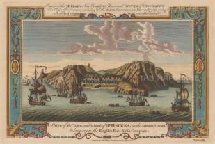 "Millar: St Helana. 1782. A hand coloured original antique copper engraving. 13"" x 8"". [AFRp938]"