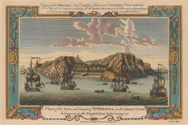 "Millar: St Helana. 1782. A hand coloured original antique copper engraving. 13"" x 8"". [AFRp938]"
