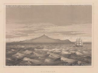 "Anderson: Ascension Island, South Atlantic Ocean. 1859. An original antique lithograph. 11"" x 8"". [AFRp974]"