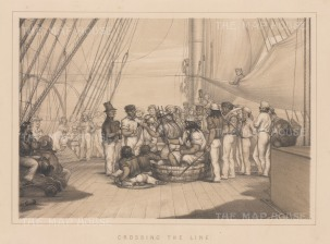Crossing the Equatorial Line. A view of the naval ritual featuring Neptune, god of the seas.