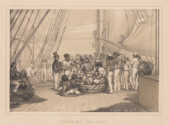 """Anderson: Crossing the Equator. 1859. An original antique lithograph. 11"""" x 8"""". [AFRp983]"""