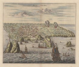 Tercera, Azores: Panorama of the harbour of Angra and the Portuguese fort of San Sebastian, based upon Johann Theodore de Bry's view of 1601