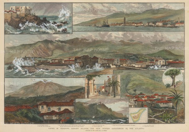 Canary Islands: Tenerife, Nine views to include a panorama of the peak, views of Santa Cruz, Anaga Point and a miniature map.