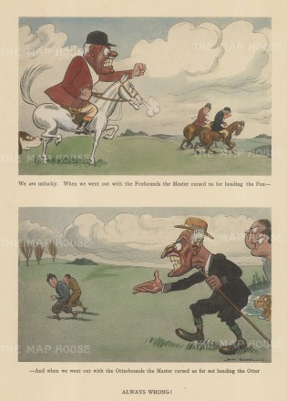"""Bateman: Otter and Fox Hunting. c1930. A hand coloured original vintage lithograph. 7"""" x 10"""". [FIELDp1543]"""