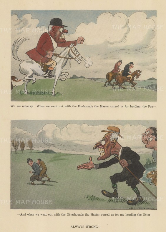 "Bateman: Otter and Fox Hunting. c1930. A hand coloured original vintage lithograph. 7"" x 10"". [FIELDp1543]"