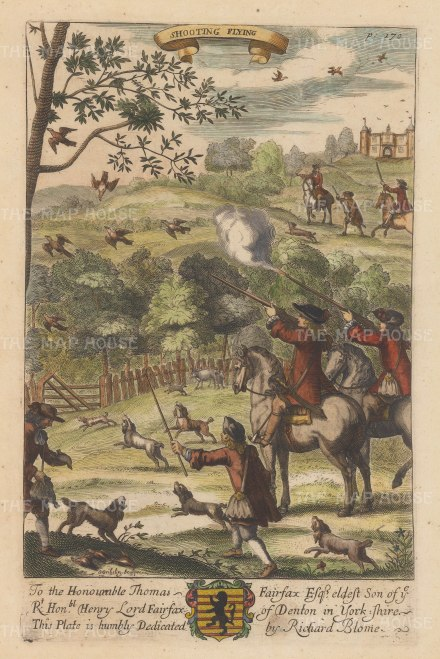 Shooting Flying: The first mention of shooting flying birds rather than perched birds is by Blome; the new fashion probably began with the return of Charles II from exile.