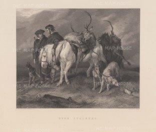 """Landseer: Deer Stalking. c1839. An original antique steel engraving. 12"""" x 11. [FIELDp1555]"""