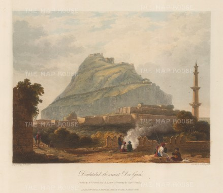 Daulatabad (Devagiri) Fort: View of the 14th century fort near Aurangabad. By William Daniell after a drawing by Capt. Grindlay