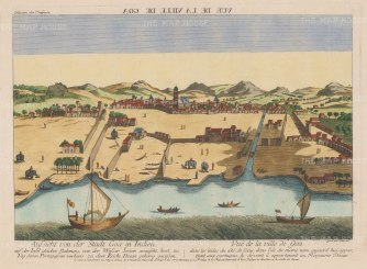 Velha Goa (Old Goa). Panorama of the port on the Mahadayi (Mandovi) River built by Adilshah dynasty of the Sultanate of Bijapur and captured by the Portugese.
