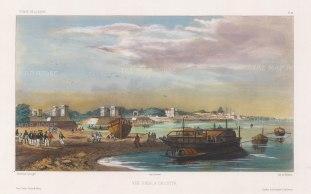 "Vaillant: Hooghly River, Calcutta. c.1850. A hand coloured original antique lithograph. 13"" x 10"". [INDp1256]"