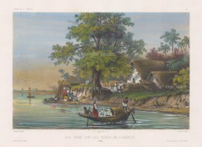 Hooghly River: View of houses on the banks of the river. After Theodore-Auguste Fisquet, artist on the voyage of La Bonite 1836-7.