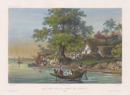 "Vaillant: Hooghly River, Calcutta. c.1850. A hand coloured original antique lithograph. 13"" x 10"". [INDp1269]"