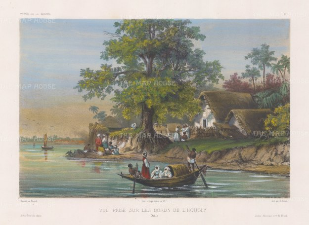 "Vaillant: Hooghly River, Calcutta. c.1850. A hand coloured original antique lithograph. 13"" x 10"". [INDp1269]"