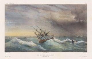Hooghly River: The corvette La Bonite in a gale. After Barthélemy Lauvergne, artist on the voyage of La Bonite 1836-7.