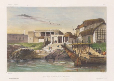 Hooghly River: View of a temple complex from the river. After Theodore-Auguste Fisquet, artist on the voyage of La Bonite 1836-