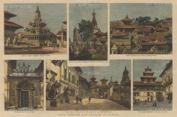 Nepal: Kathmandu. Basantapur Darbar Kshetra. Six views of the temples and palaces of the Royal Court.