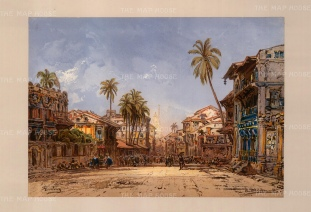 Kalbadevi Road, Bombay: Street view looking towards the templ. Drawn from life during Hildebrandt's 'round-the-world' voyage.