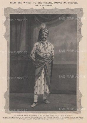 HH Prince Ranjitsinhji in the robes of the Jam of Nawanagar. Champion Cricketer.