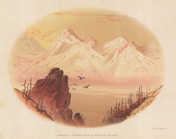 Nursyng and Pundeem: Evening view from Soubahoom. After the first Western artist to depict the Eastern Himalayas during a perilous 600 mile journey.